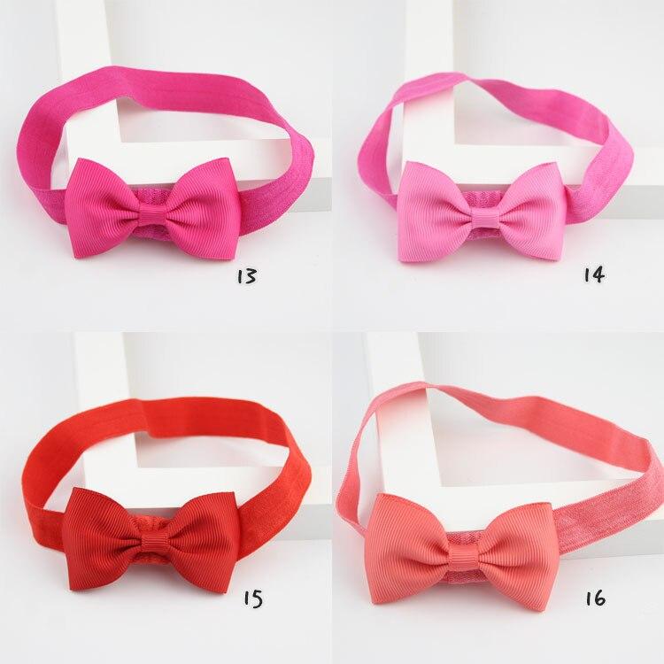 20 Color Kids Headband Soild Color Ribbon Bows Elastic Hair Bands Cute Newborn Girls Bow Cheap   Headwear   Photography Props