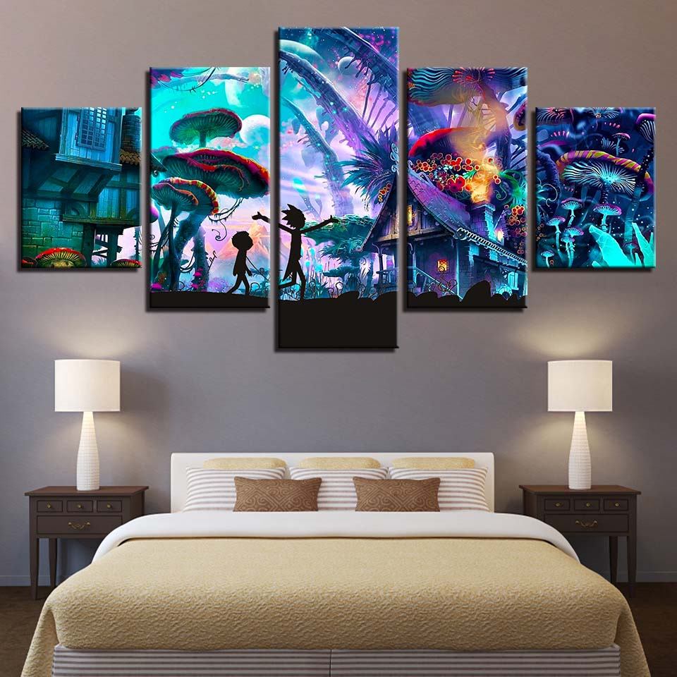 Canvas Painting HD Prints Home Decor 5 pieces rick and morty animation Wall Art Modular Pictures for kids room Artwork Poster
