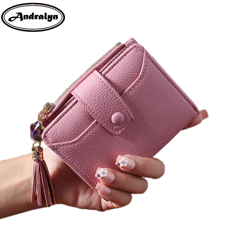 Andralyn Tassels Hasp PU Leather Women Short Wallets Ladies Fashion Small Wallet Coin Purse Female Card Wallet Purses Money Bag short hasp cowhide genuine leather women coin bag wallet stitching designer cartera purse female card wallet