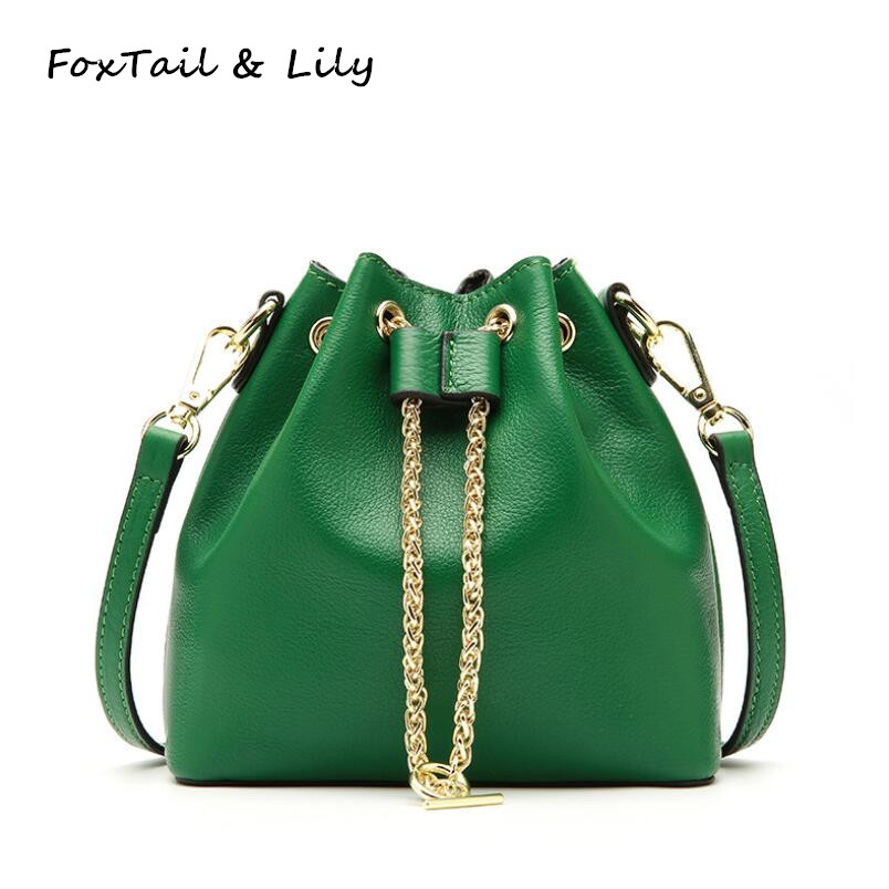 FoxTail & Lily Genuine Leather Mini Bucket Bag Summer New Women Shoulder Bag Brand Luxury Lady Handbag Small Tote Messenger Bags 2017 new fashion women handbag big button round bucket bag lady leather one shoulder messenger small tassel bags