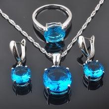 b587b41aabbf Fahoyo ronda cielo azul ZIRCON 925 mujeres de plata esterlina Juegos de joyería  Pendientes colgante Collar Anillos envío libre q.