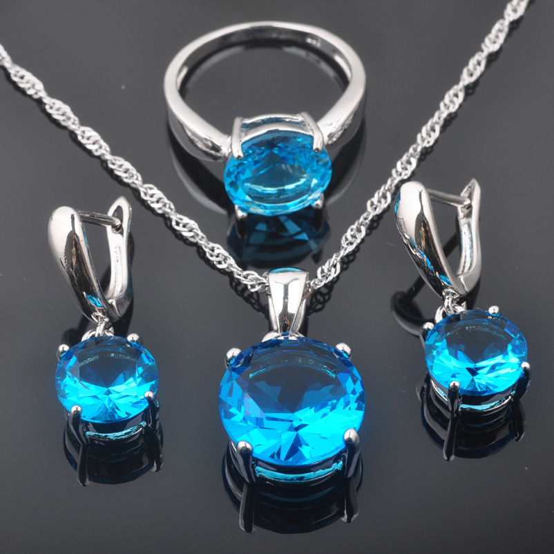FAHOYO Round Sky Blue Zircon Women's 925 Sterling Silver Jewelry Sets Earrings/Pendant/Necklace/Rings Free Shipping QZ0220