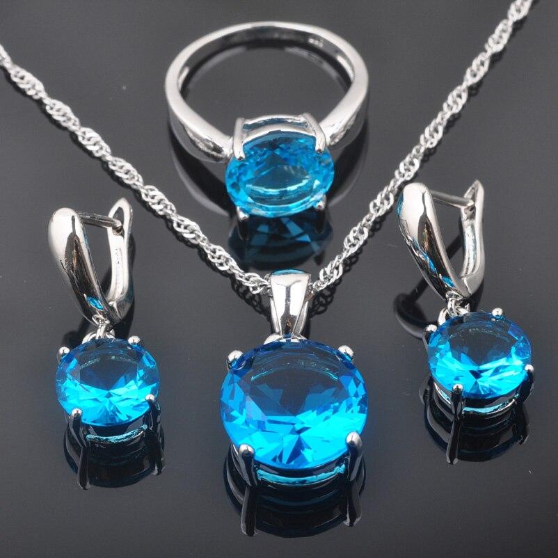2019 Neuestes Design Fahoyo Sky Blue Zircon Frauen 925 Sterling Silber Schmuck Sets Ohrringe/anhänger/halskette/ringe Freies Verschiffen Qz0220 Brautschmuck Sets