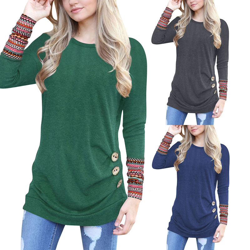 AN ORIGIN New solid Round neck plus size T shirt long sleeve shirt Casual with Button Fashion women T shirt women clothing 2019 in T Shirts from Women 39 s Clothing