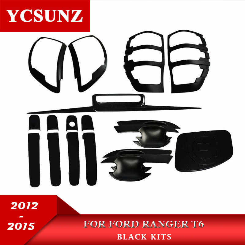 ABS Acessórios do carro Estilo Do Carro Preto Conjunto Completo Kit Para Ford Ranger Wildtrak T6 2012 2013 2014