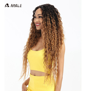 Image 3 - Noble Hair Synthetic Lace Front Wig Long Wavy Hair 30 Inch Blonde Wigs For Black Women Ombre Hair Synthetic Lace Front Wig
