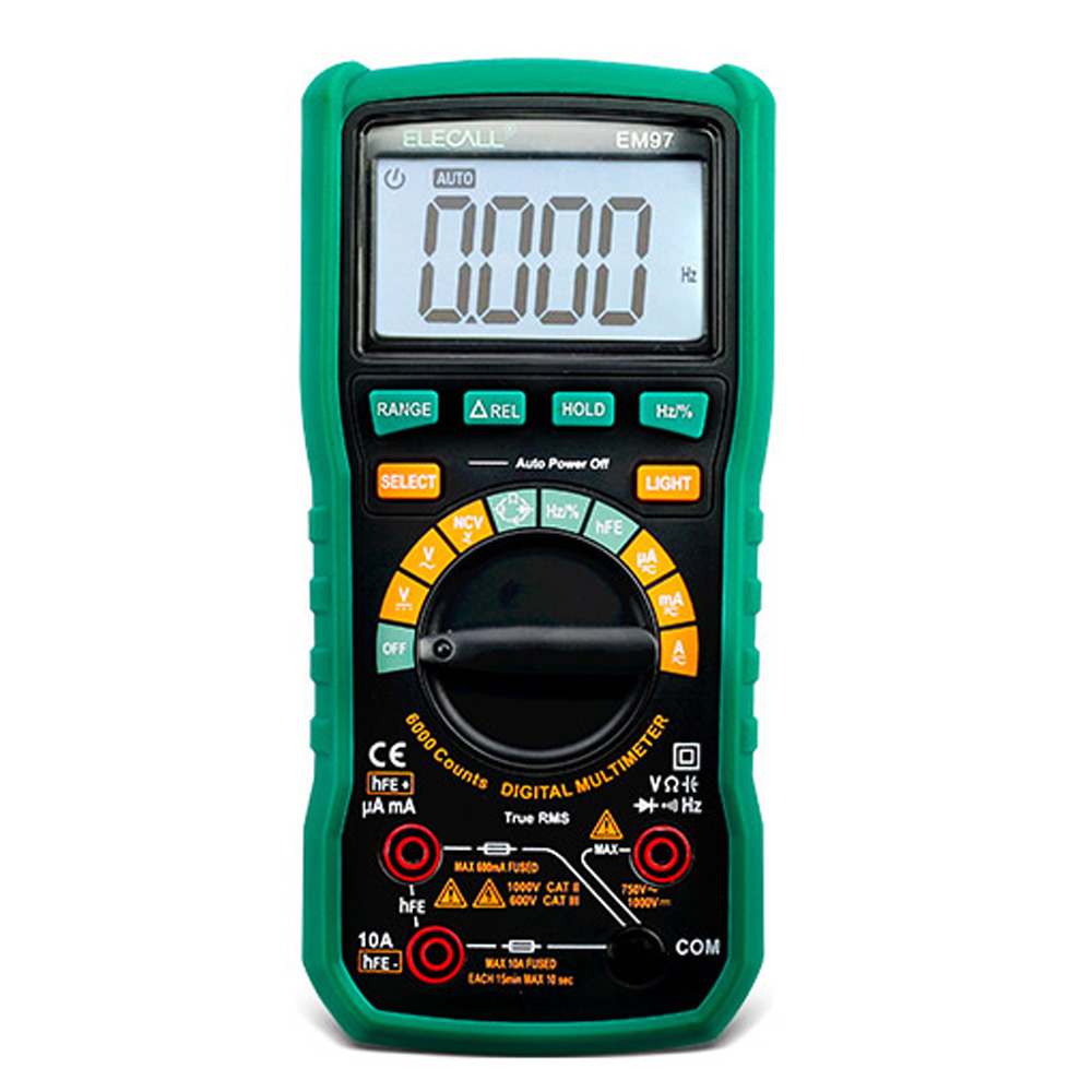 ELECALL EM97 High precision True RMS digital Multimeter LCD backlight with Capacitance/Resistance measurement 1pc victor 8245 vc8245 4 1 2 bench desktop display with high precision digital multimeter ture rms with usb interface