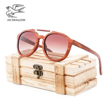 AN SWALLOW  Fashion pretty womens new red wooden sunglasses women with bamboo wood box giving gifts