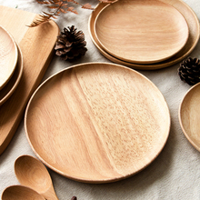 Wooden Round Plate Rubber Wood Serving Tray household creative fruit plate for snack/dish/fruit