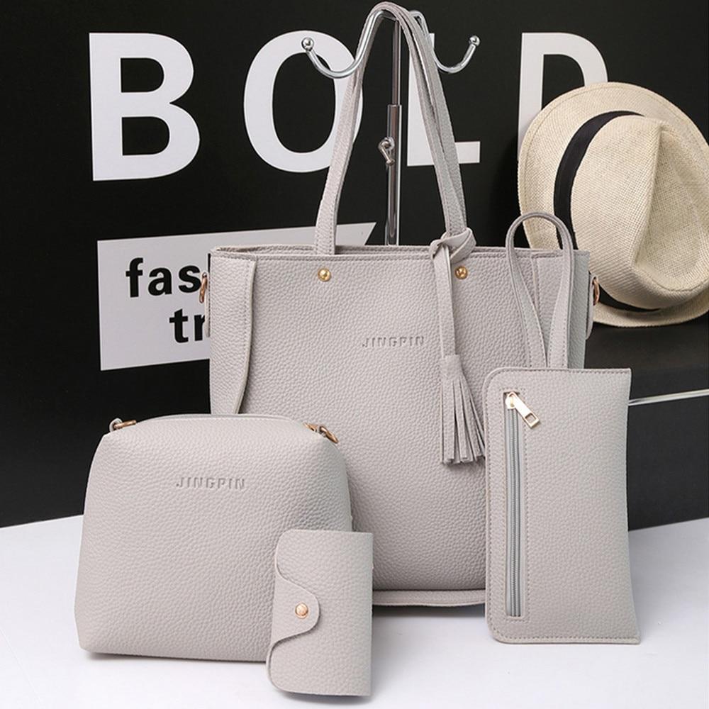 40* Women Bags Set Tote Handbag +Shoulder Bag +Messenger Blosa +Day Clutch Four Pieces Tote Bag Crossbody Wallet Bags