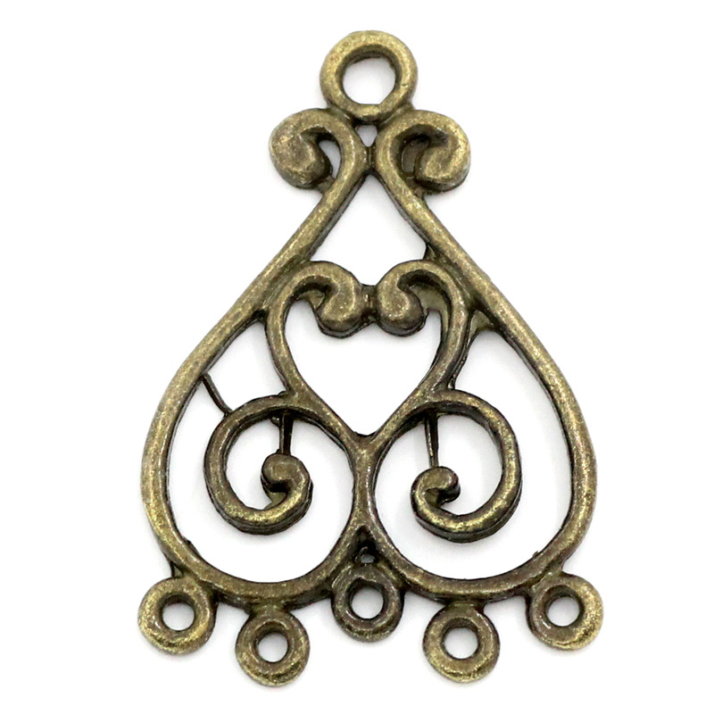 DoreenBeads Zinc Metal Alloy Pendants Findings Heart Antique Bronze Color Plated 3.3cm(1 2/8
