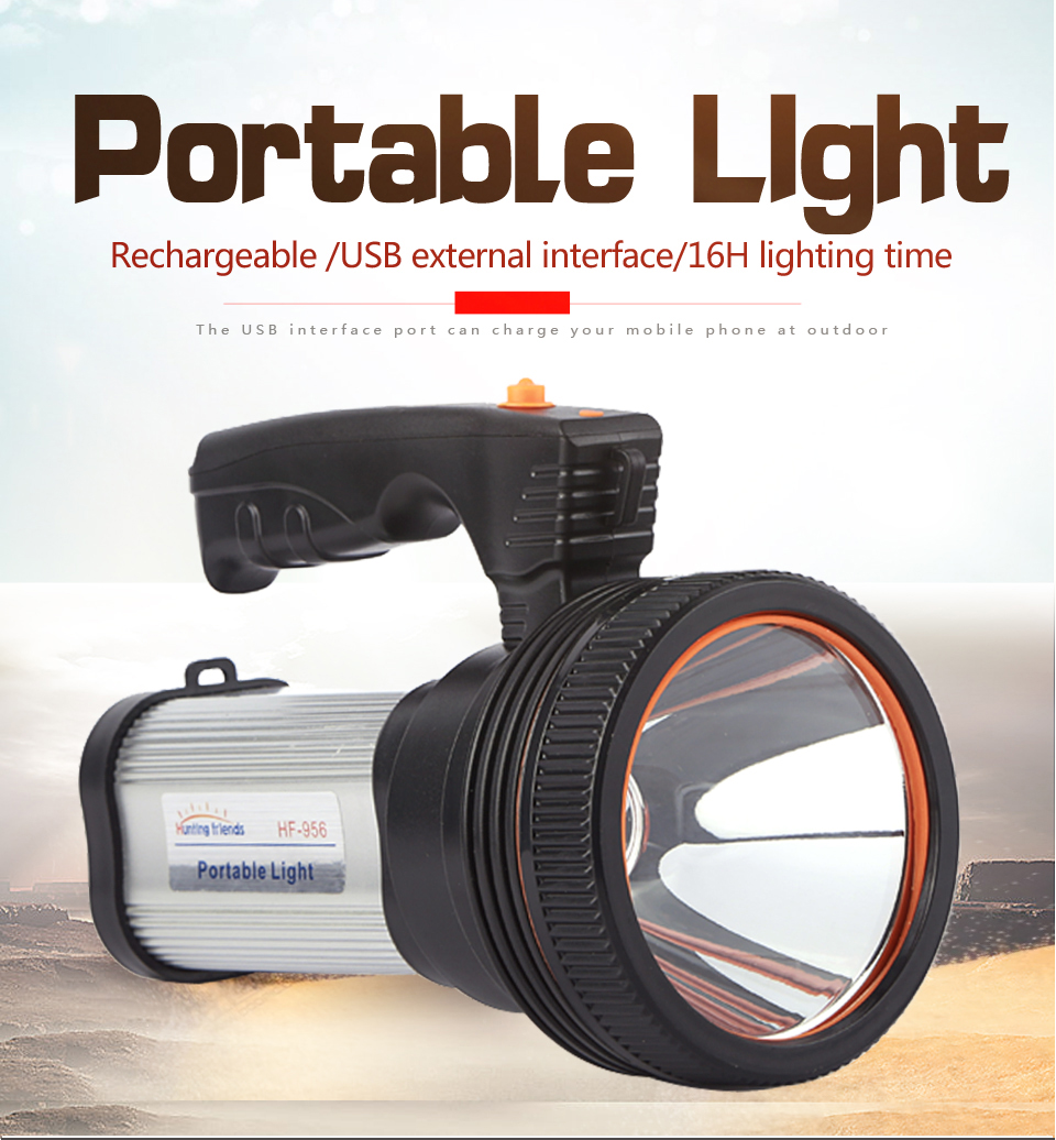 HTB1nzv2ayLrK1Rjy1zdq6ynnpXaq - Super Bright LED Portable Light(Built-in 9000mA li-ion Battery)+USB Chaging cable+ Shoulder Strap Black/Silver/Gold Color Option