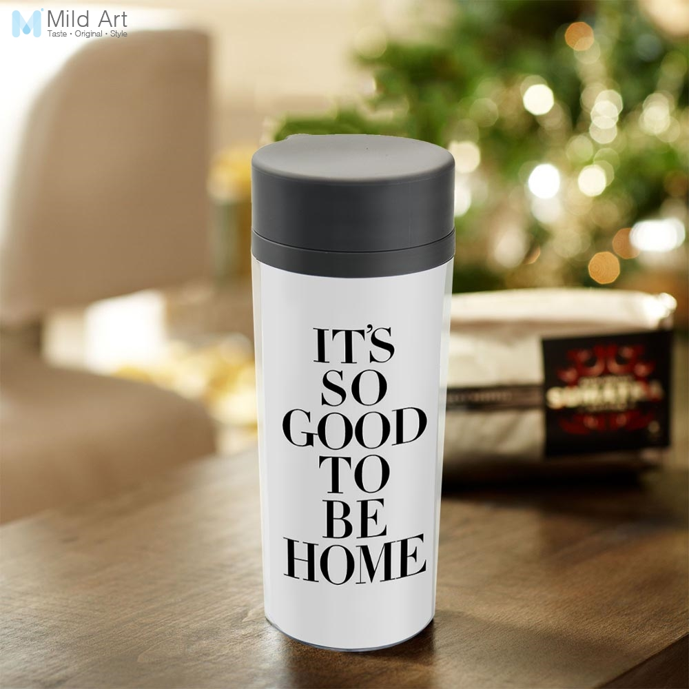Plastic Insulated Nordic Minimalist Black White Typography Home Quotes Water Bottles 300ml Gift BPA Free Personalized Modern