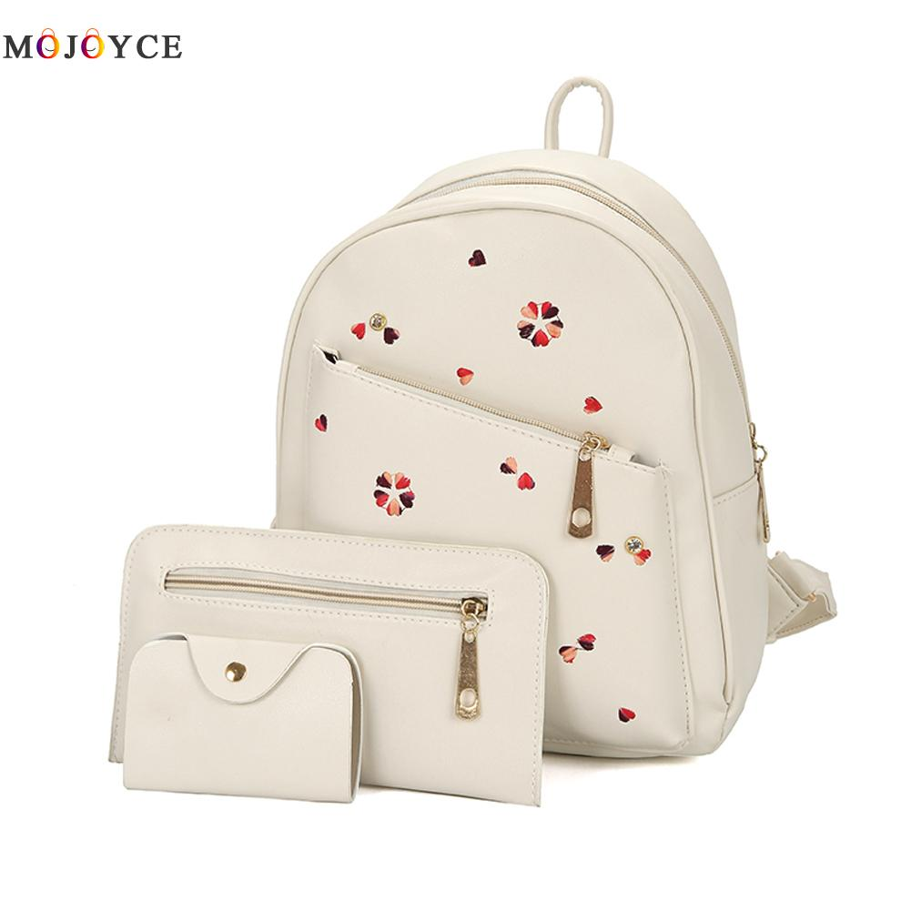3Pcs/Set Floral Women Backpacks female 2017 School Bags For Teenage Girls Black PU Leather Women Backpack Shoulder Bag Purse 3pcs set hot women backpacks female school bags for teenage girls black pu leather backpack shoulder bag purse mochila sac a dos