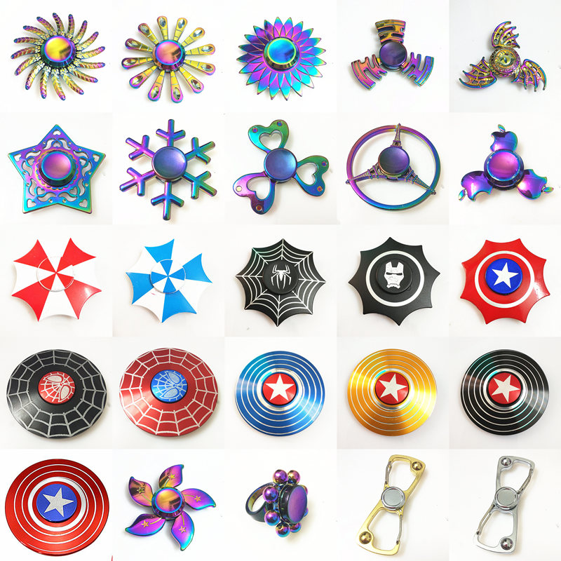 Rainbow Hand Finger Fidget Spinner gyro Eye Electroplate Hybrid Bearing Zilver Zinc Alloy Metal EDC Hand Tri spiner SZJD 11 styles hero metal fidget spinner hand newest iron man finger spiner spider man tri spinner adult kid child relax round toy