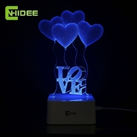 Love Balloon 3D Visual Dimmable Led Night Light Touch Controlled Sleeping Table Lamp Besides Desk Nightlights