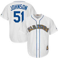 MLB Men S Seattle Mariners Randy Johnson Majestic White Home Cool Base Cooperstown Collection Player Jersey