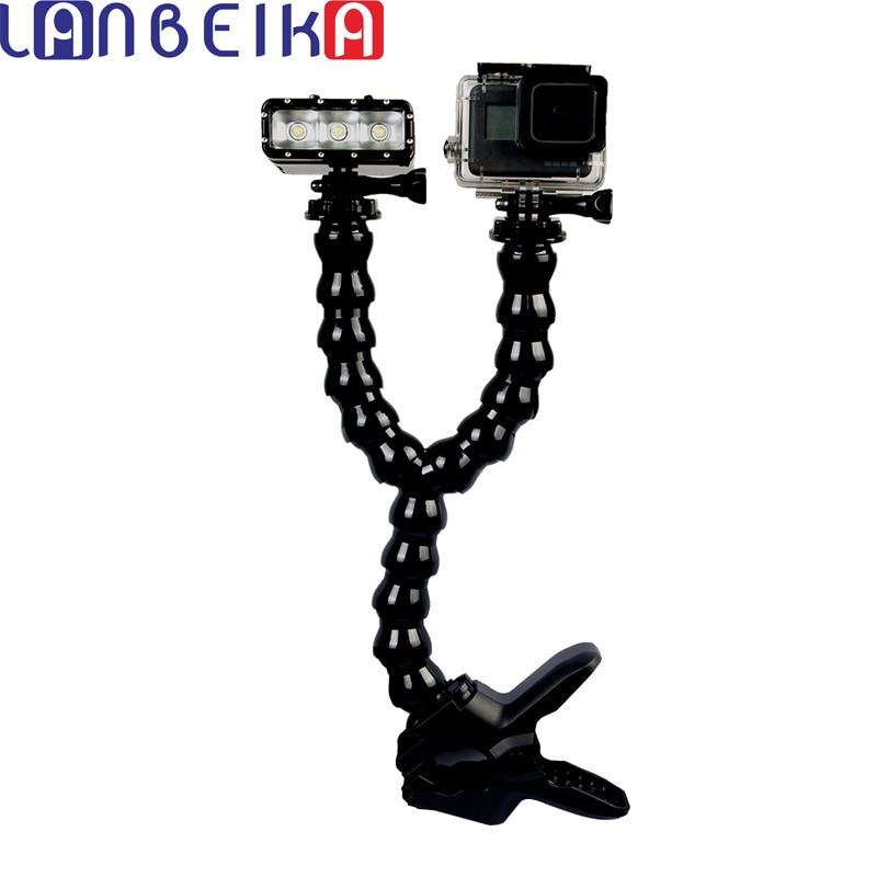 LANBEIKA Double Cou Montage Réglable Flex Pince Clip Bras Double Col trépied Pour Gopro Hero 6 5 4 SJCAM SJ4000 SJ5000 SJ6 SJ7