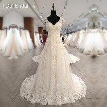 Vestido de novia escote en V de manga corta con perlas de lujo, encaje delicado, personalizado de fábrica