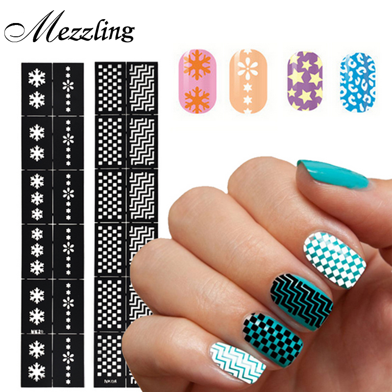 French Manicure Diy Nail Art Tips Tape Sticker Guide Stencil View Images
