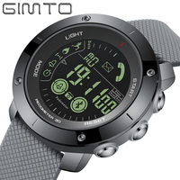 GIMTO Brand Luxury Men Sport Smart Watch Black Unique Black Waterproof Chronograph Digital Casual Army Military