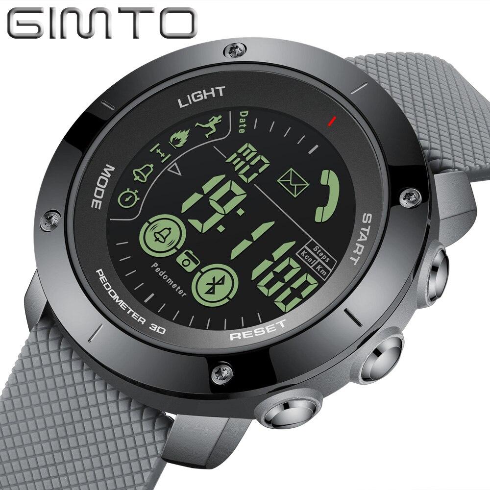 GIMTO Brand Luxury Men Sport Smart Watch Black Unique Black Waterproof Chronograph Digital Casual Army Military