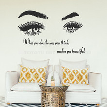 Beautiful Wome Eyes Quotes Wall Decal eyelash brows Wall Decor Sticker Vinyl Art Bedroom Decorative Beauty Salon Poster Y106