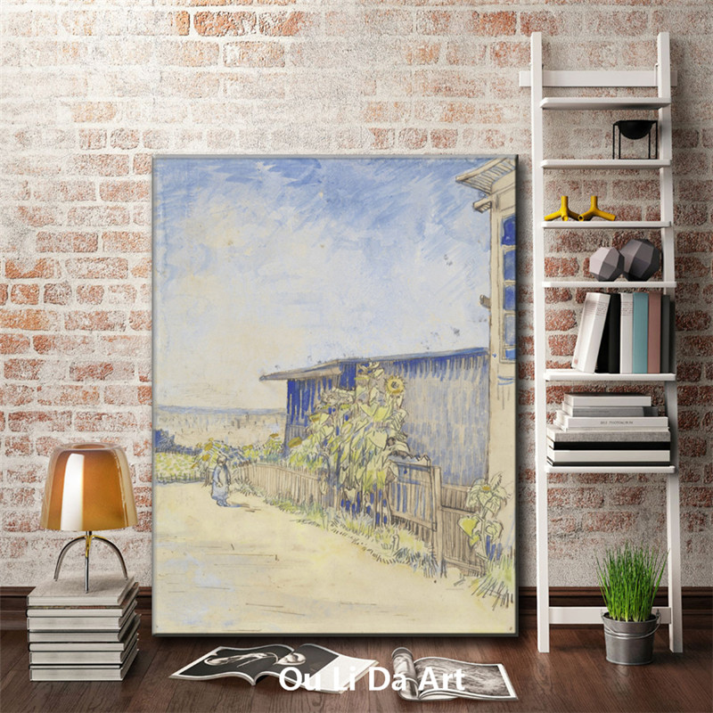Impression Van Sunflower Garden Scenery Canvas Printings Oil Painting Printed On Canvas Wall Art Decoration Picture No Frame