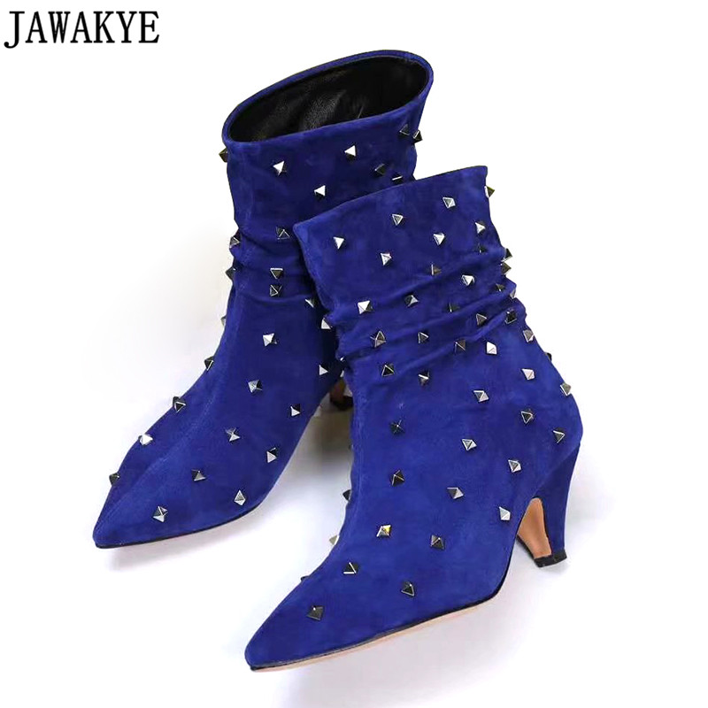 2018 real Kidsude ankle boots for women Pointed Toe high heels metal rivets studded autumn fetish runway shoes bota feminina