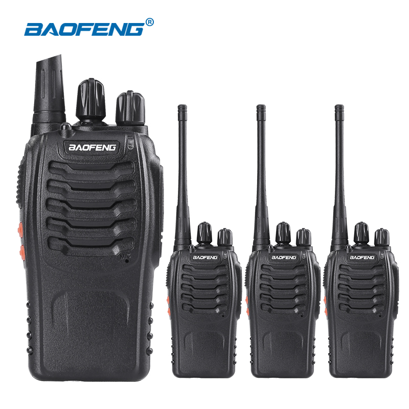 4pcs Baofeng 888S Walkie Talkie med Headset UHF Frekvens Portable Ham Radio Communicator Baofeng bf-888s Amatørradio Station