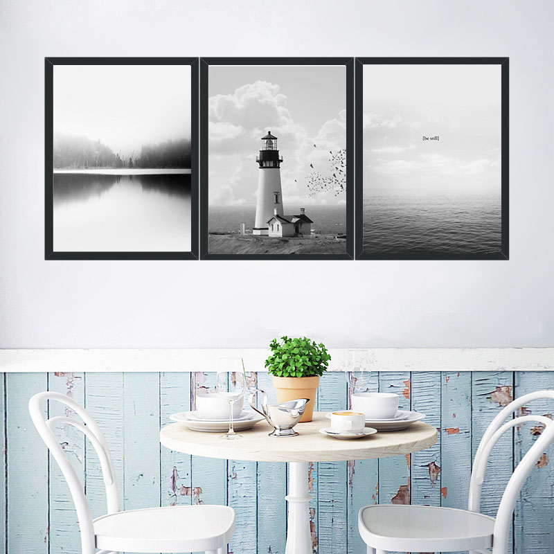 Decoration Wall Art Pictures Portland Lighthouse Black And White Style Modern Minimalism ...
