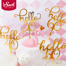 """Gold """"hello 21 30 40 50 60""""Hand Writing Cake Toppers Happy Birthday Party Decoration for Anniversary Supplies Lovely Gifts"""