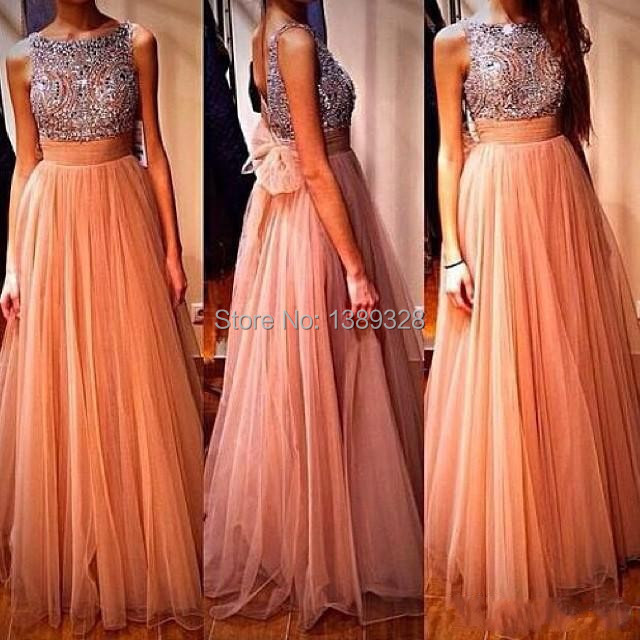 Fashion Customize Formal Party Gown Bead Embroidery Tulle Floor Length Skirt Open Back   Prom     Dress