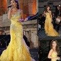 Largo Vestidos de Baile 2016 de La Sirena de Un Hombro Plisado Amarillo Cristal de Lujo Con Cuentas Vestido de Noche Kaftan vestidos de graduacion