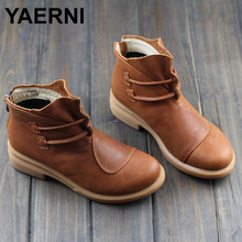 YAERNI Women's Boots Brown Black Autumn Winter Female Boots Woman Shoes Genuine Leather Slip on Ankle Boots Chic Style