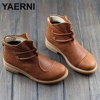 YAERNI Women S Boots Brown Black Autumn Winter Female Boots Woman Shoes Genuine Leather Slip On