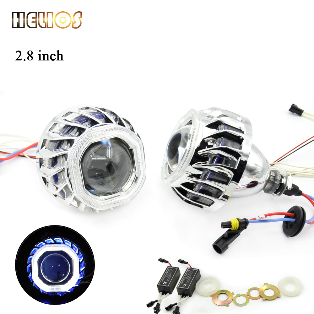 ФОТО 2pcs 2.8 inch hid bixenon projector lens with square  angel eyes hid xenon bulb and CCFL back angel eyes auto lamp lens