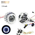 2pcs 2.8 inch hid bixenon projector lens with square  angel eyes hid xenon bulb and CCFL back angel eyes auto lamp lens