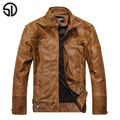 2017 Spring New Fashion Men's Leather Jacket Stand Collar Slim Baseball Jackets Coats  High Quality Male  PU Leather Clothing