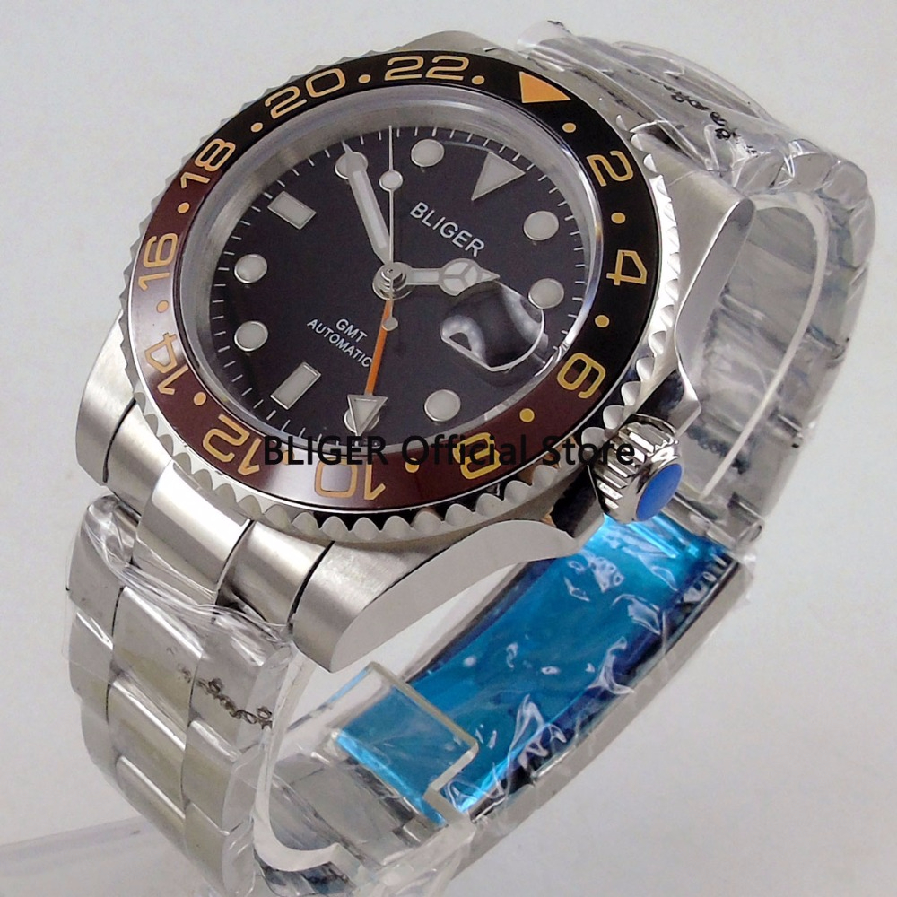 BLIGER 40mm Black Dial Ceramic Rotating Bezel GMT Function Stainless Steel Band Luminous Sapphire Automatic Movement Mens WatchBLIGER 40mm Black Dial Ceramic Rotating Bezel GMT Function Stainless Steel Band Luminous Sapphire Automatic Movement Mens Watch