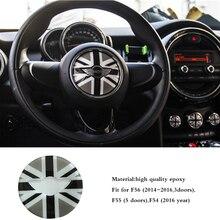 3D Epoxy Steering Wheel Panel  Embelm Sticker for MINI Clubman F54 F55 F56 Styling Interior Checker Jack Union Decal