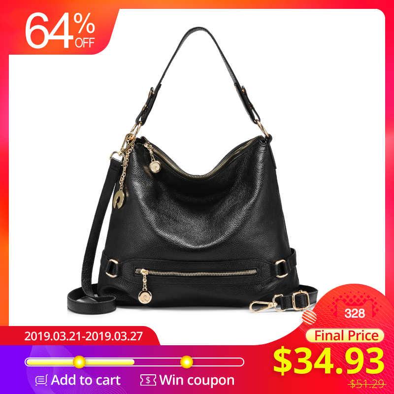 000e746857ba REALER большая женская сумка через плечо из натуральной кожи с  высококачественным металлом, женская кожаная сумка