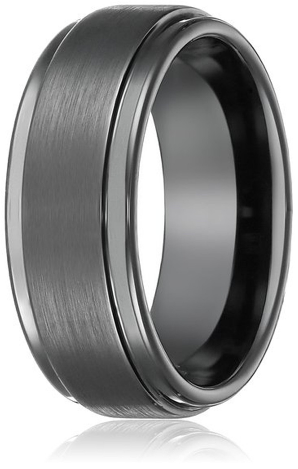 8mm Black High Polish Tungsten Carbide Mens Wedding Band Ring in
