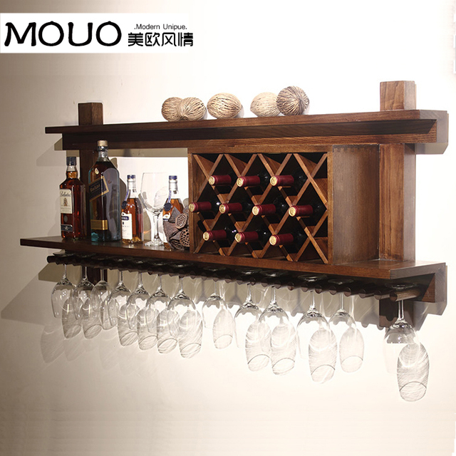 Wall mounted wood wine rack wine rack wine cooler european Hanging wooden wine rack