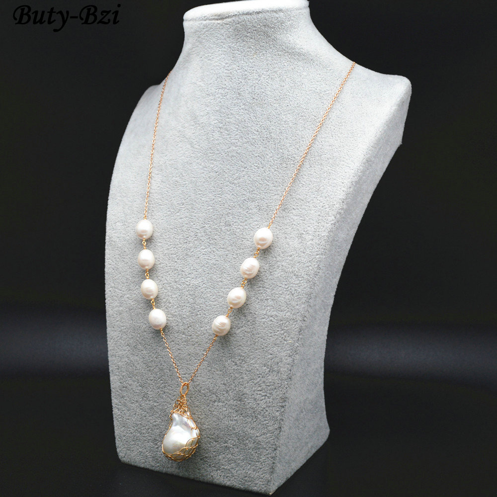 High Quality Natural Fresh Water Pearl Wire Wrapped Baroque Bead Pendant Linked Chains Nec