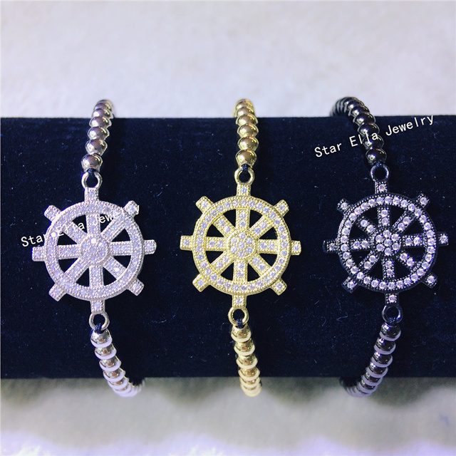 charm wheel nautical bracelet pin ships macrame