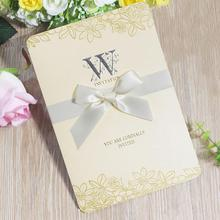 20pcs/lot Elegant Folding Wedding Invitations Letter Printed Ribbon Bow Cards with Envelopes,blank Inner Page
