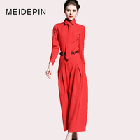 2018 New Fashion Business Women Workwear Twin Set Blouse With Tie Wide Leg Pants Solid Color