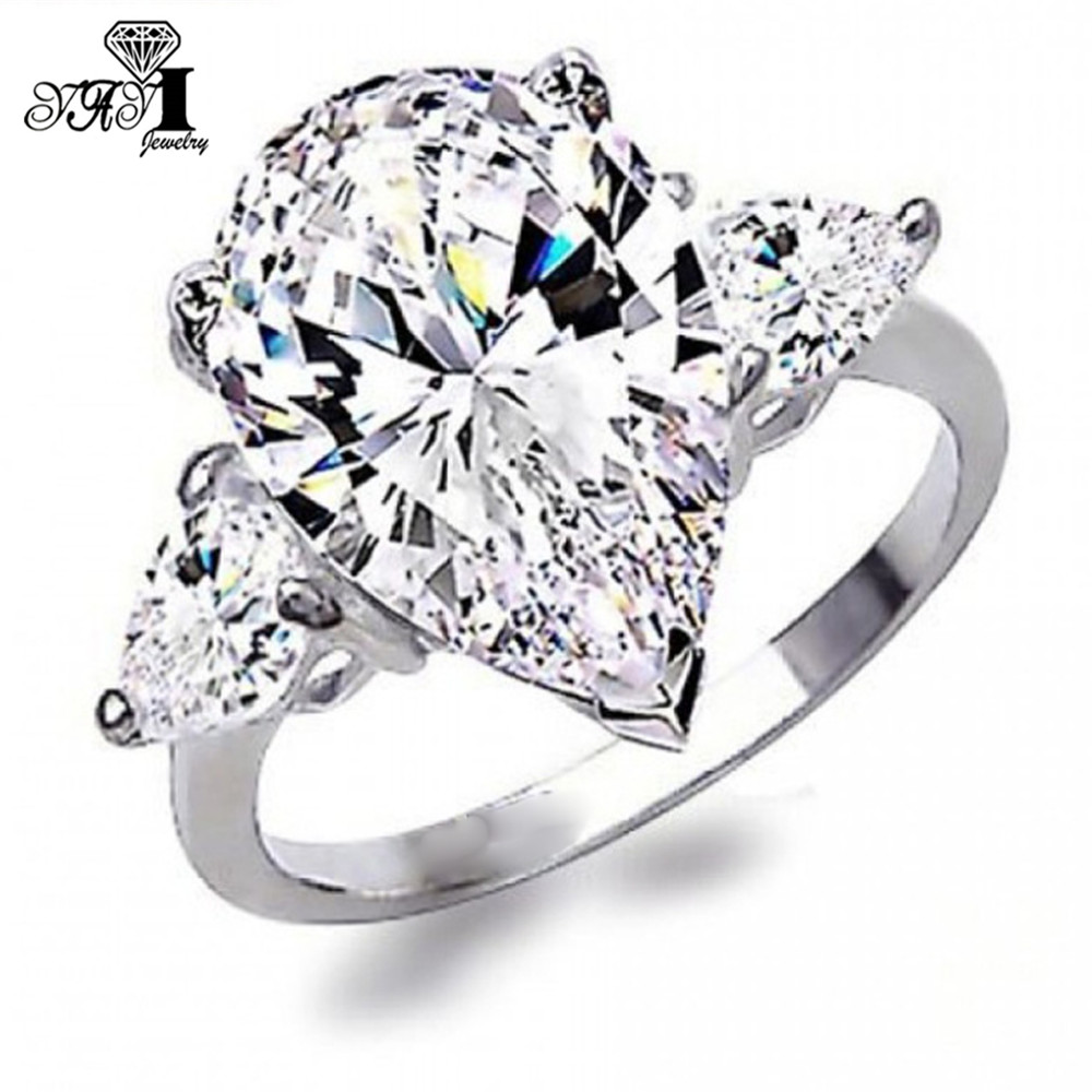 YaYI Fashion Women Jewelry Ring 5CT White Zircon CZ  Silver Color Engagement Rings Wedding Rings Party Ring Gifts