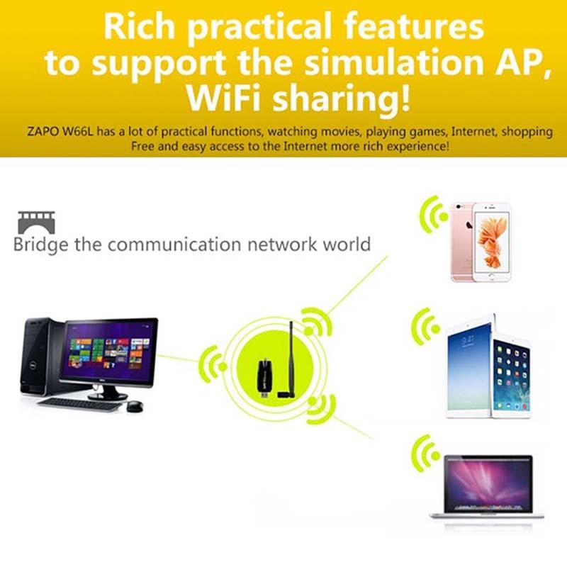 ZAPO 2.4G WIFI USB 300Mbps Lan Adapter Bezprzewodowy odbiornik - Sprzęt sieciowy - Zdjęcie 4